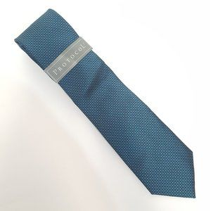 3/$30 Protocol Teal Microcheck Tie